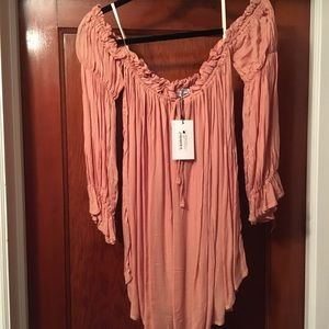 She & Sky Shirring Blouse Off-shoulder Large NWT